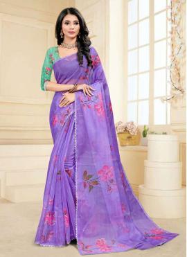 Sightly Digital Print Purple Fancy Fabric Printed Saree