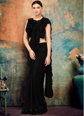 Sightly Sequins Black Lycra Classic Designer Saree