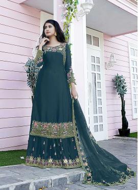 Sightly Teal Designer Pakistani Salwar Suit