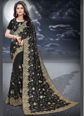 Silk Black Embroidered Classic Designer Saree