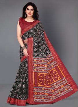 Silk Black Printed Casual Saree