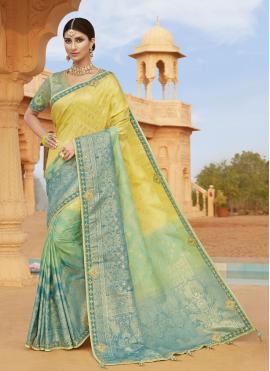Silk Blue and Yellow Designer Traditional Saree
