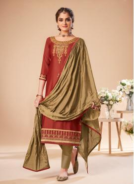 Silk Bollywood Salwar Kameez in Maroon