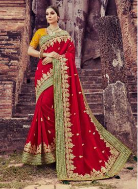 Silk Classic Designer Saree in Maroon