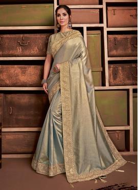 Silk Contemporary Saree in Gold