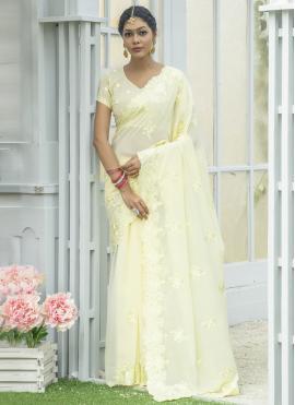 Silk Cream Embroidered Designer Traditional Saree