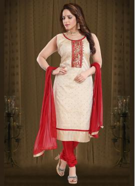 Silk Cream Embroidered Readymade Suit
