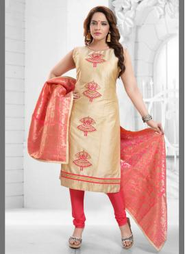 Silk Cream Fancy Churidar Designer Suit