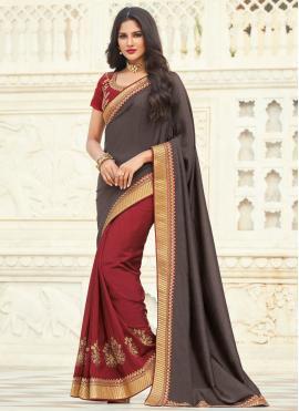 Silk Designer Half N Half Saree in Grey and Maroon