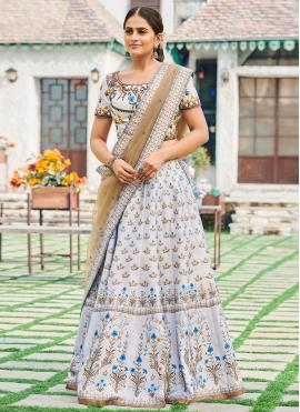 Silk Digital Print Bollywood Lehenga Choli in Purple