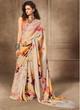 Silk Digital Print Silk Saree in Multi Colour
