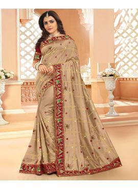 Silk Embroidered Beige Designer Saree