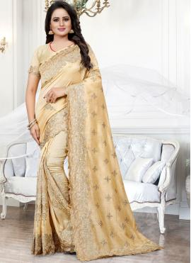 Silk Embroidered Beige Traditional Saree