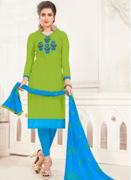 Silk Embroidered Churidar Salwar Kameez in Green