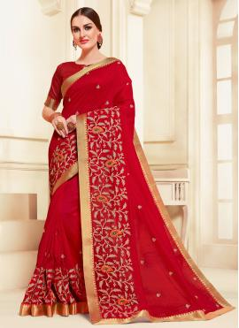 Silk Embroidered Classic Saree in Red