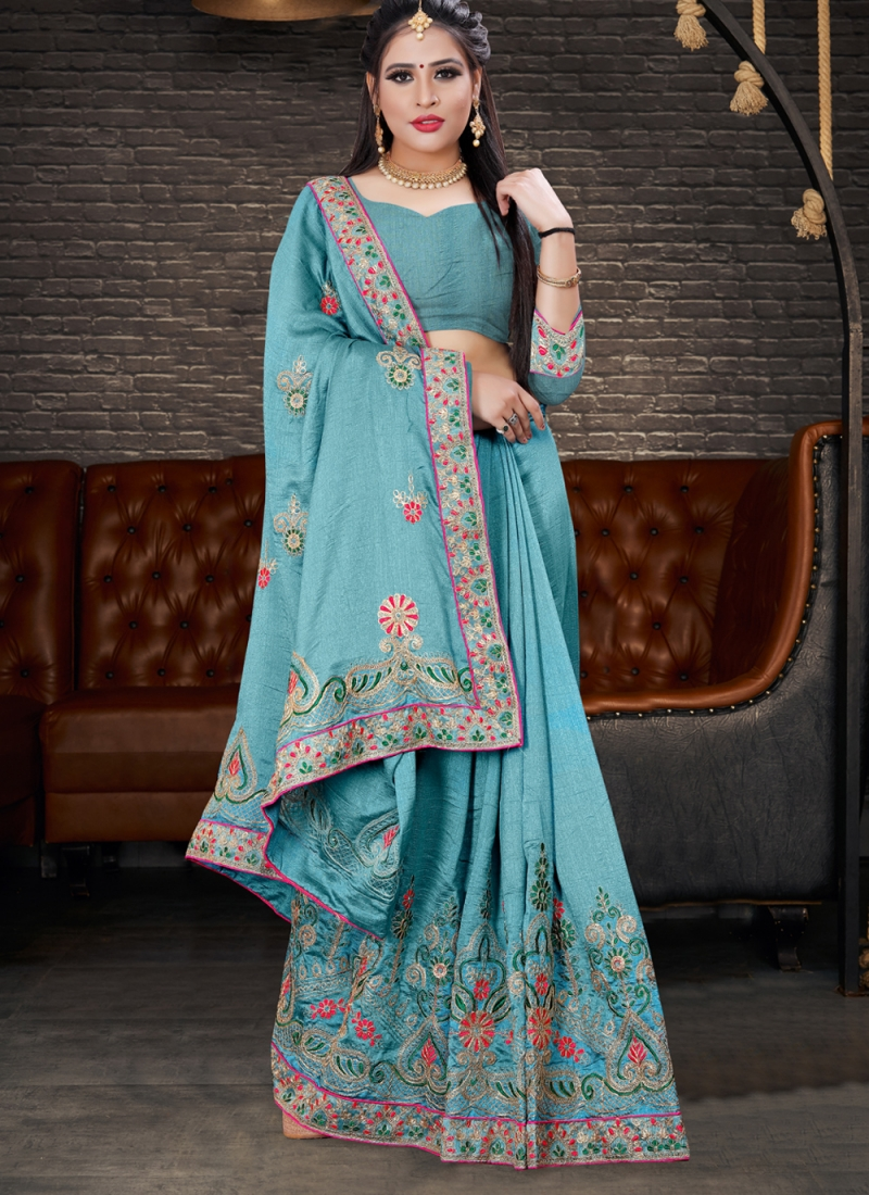 Silk Embroidered Designer Lehenga Style Saree in Blue