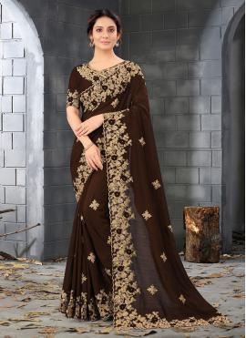 Silk Embroidered Designer Saree in Brown