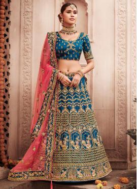 Silk Embroidered Lehenga Choli in Turquoise