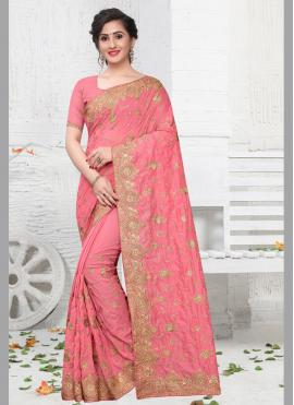 Silk Embroidered Pink Contemporary Saree