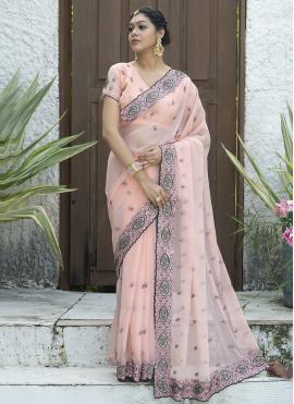 Silk Embroidered Pink Designer Traditional Saree