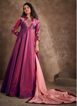 Silk Embroidered Readymade Anarkali Suit in Magenta