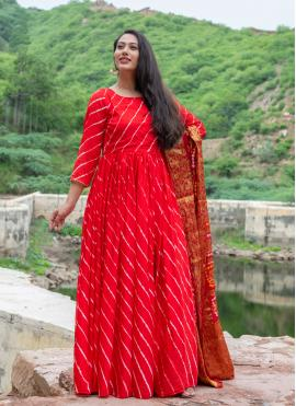 Silk Fancy Readymade Suit in Red