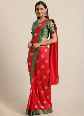 Silk Foil Print Red Traditional Saree