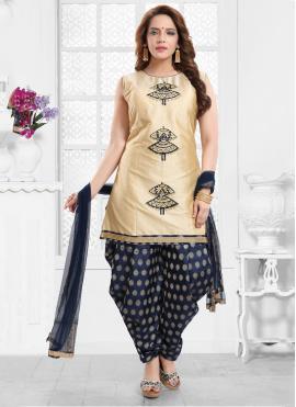 Silk Gold Designer Salwar Suit