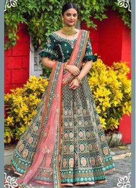 Silk Green Embroidered Lehenga Choli