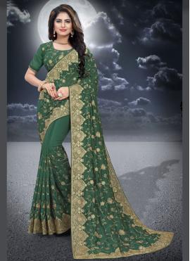 Silk Green Resham Classic Designer Saree