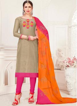 Silk Grey Embroidered Churidar Designer Suit