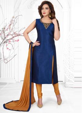 Silk Handwork Blue Churidar Designer Suit