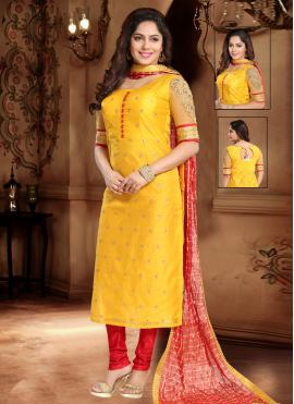 Silk Lace Yellow Trendy Salwar Suit