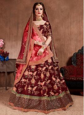 Silk Maroon Trendy Lehenga Choli