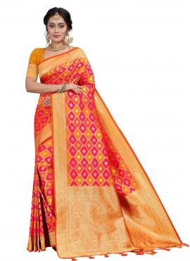 Silk Orange and Pink Traditional Designer Saree