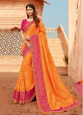 Silk Orange Classic Designer Saree