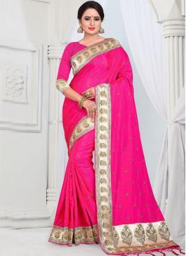 Silk Pink Border Classic Saree