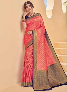 Silk Pink Weaving Designer Saree