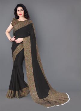 Silk Printed Black Casual Saree