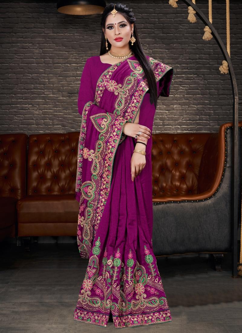 Silk Purple Classic Saree