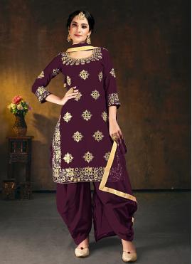 Silk Purple Designer Patiala Suit