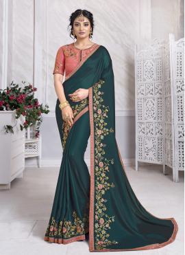Silk Rama Patch Border Designer Traditional Saree