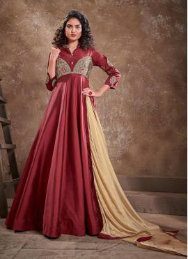 Silk Readymade Anarkali Suit in Maroon