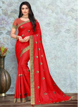 Silk Red Lace Trendy Saree