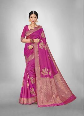 Silk Saree Weaving Art Silk in Pink
