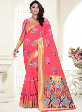 Silk Saree Weaving Banarasi Silk in Pink
