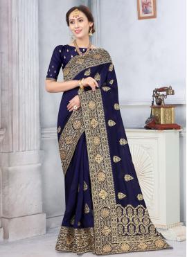 Silk Traditional Designer Saree in Navy Blue