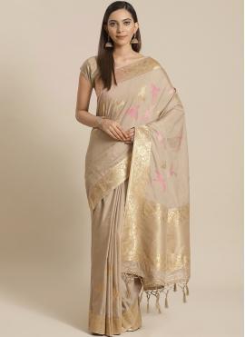 Silk Weaving Beige Traditional Designer Saree