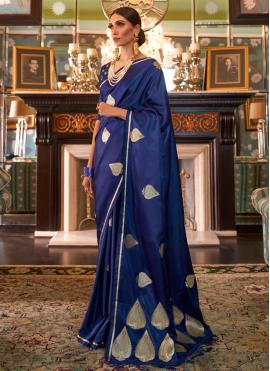 Silk Weaving Blue Designer Traditional Saree