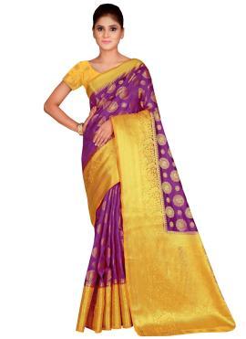 Silk Weaving Contemporary Saree in Magenta